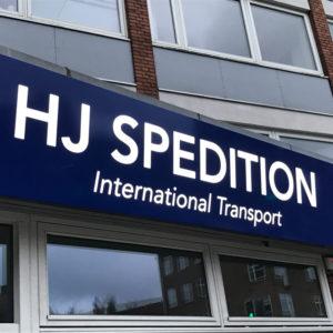 HJ Spedition - Facade lysskilt